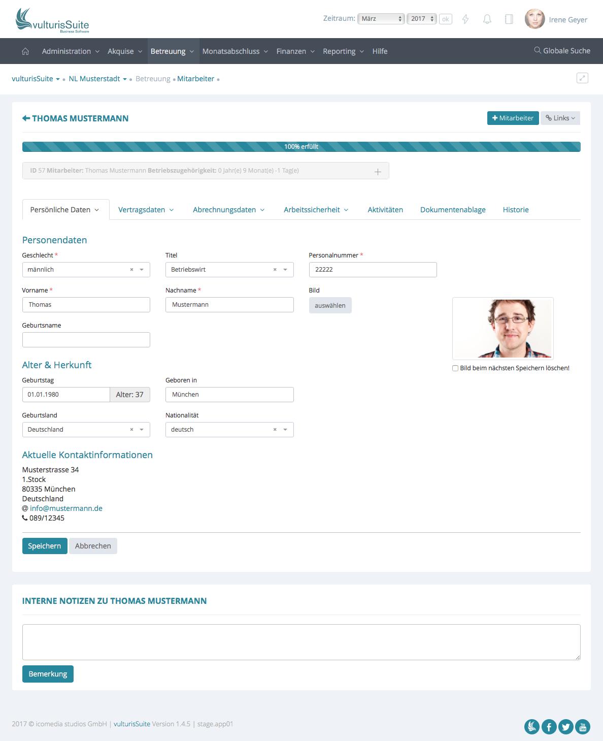 vulturisLohn - Lohnabrechnung - Mitarbeiter - Personendaten